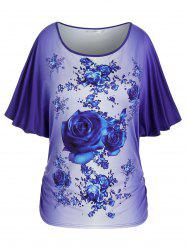 Plus Size Floral Print Batwing Sleeve Ombre Tee -