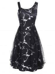 Marble Print D-ring Lace Panel Sleeveless Dress -