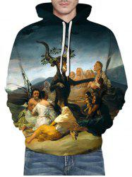 Sheep Oil Paint Pattern Front Pocket Casual Hoodie -