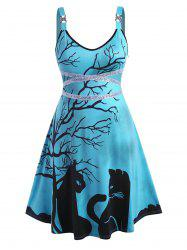 Tree Cat Print Rhinestone Sequins Halloween Plus Size Dress -