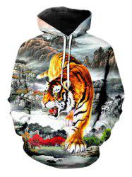 Casual Tiger Landscape Pattern Front Pocket Hoodie -