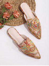 Beaded Paisley Print Pointed Toe Half Flat Shoes -