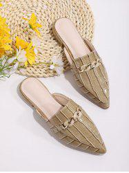 Animal Embossed Chain Embellished Half Flat Shoes -
