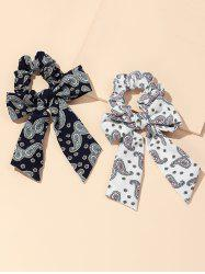 2Pcs Paisley Print Bowknot Ribbon Scrunchies Set -