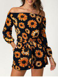 Off The Shoulder Sunflower Print Long Sleeve Romper -