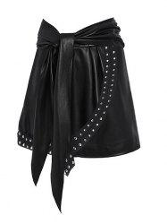 Rivet Detail Asymmetric Self Tie Faux Leather Skirt -