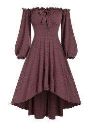 Off The Shoulder Bowknot Detail High Low Dress -