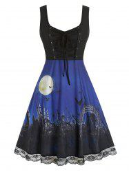 Plus Size Halloween Lace Up Printed Dress -