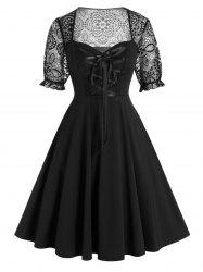Plus Size Lace Panel Lacing Fit and Flare Dress -