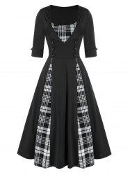 Mock Button Plaid Print Vintage Twofer Dress -