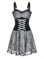 Sleeveless Lace-up Halloween Spider Web Lace Dress -
