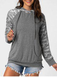 Camo Front Pocket Marled Hoodie -