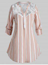 Plus Size Striped Lace Panel Button Casual Blouse -