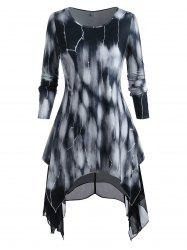 Plus Size Tie Dye Top and Cami Chiffon Dress Set -