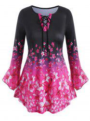 Plus Size Flower Print Lace Up Flare Sleeve T-shirt -