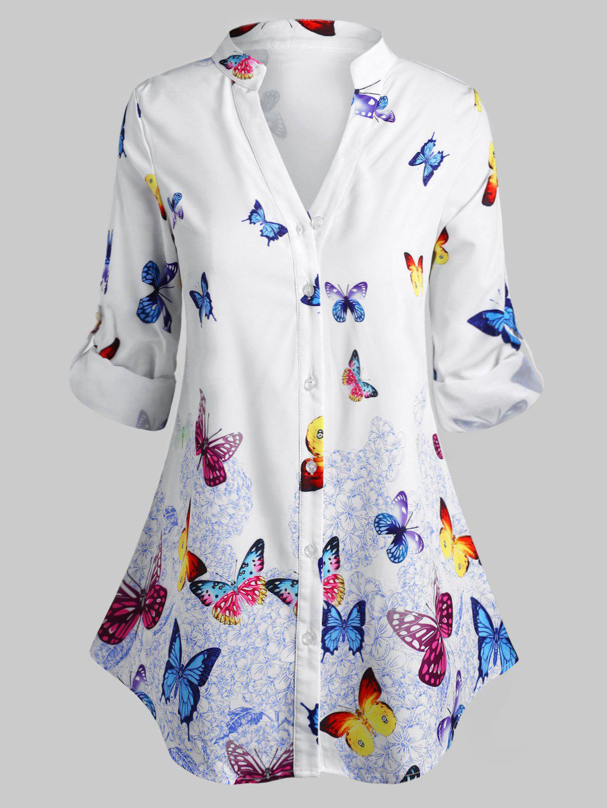 Plus Size Butterfly Print Roll Up Sleeve Blouse