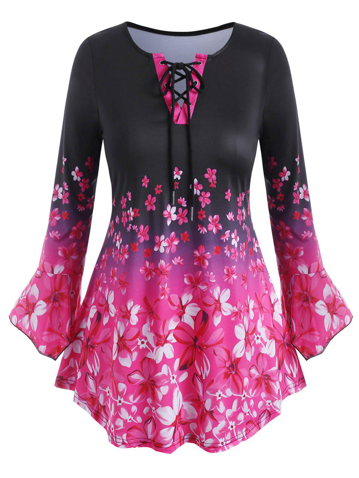 Chic Plus Size Flower Print Lace Up Flare Sleeve T-shirt