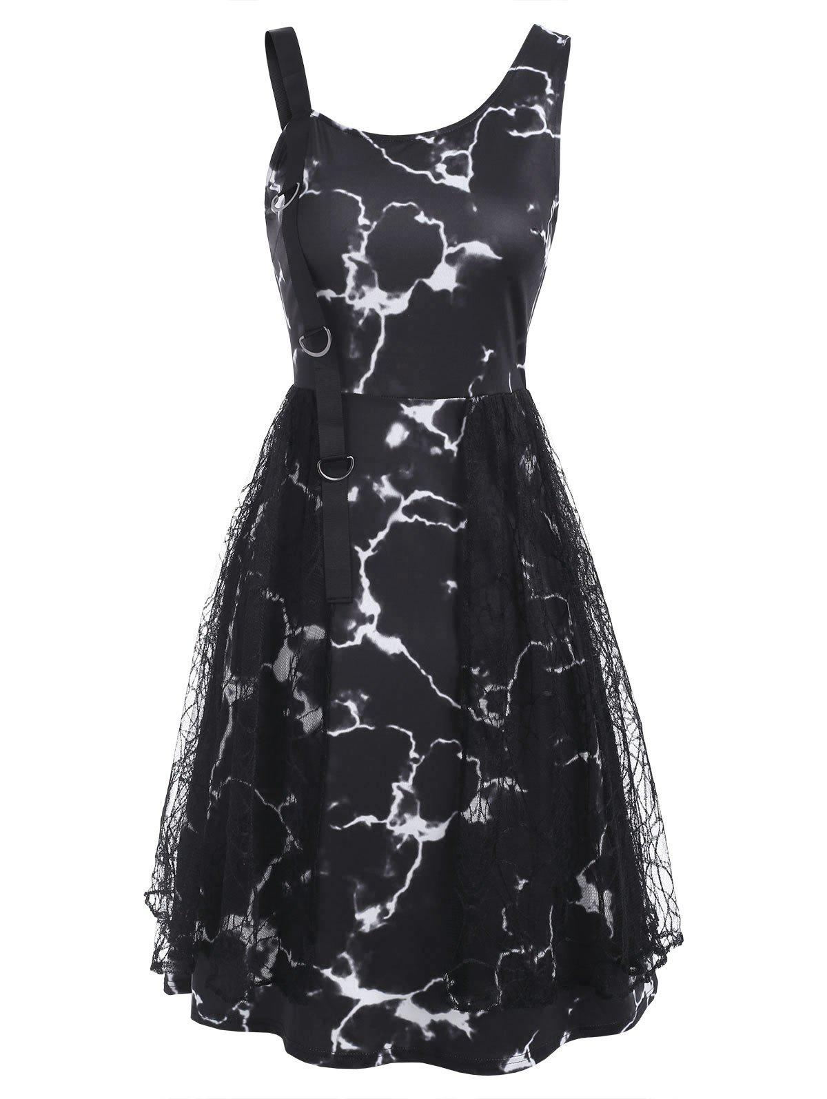 Chic Marble Print D-ring Lace Panel Sleeveless Dress