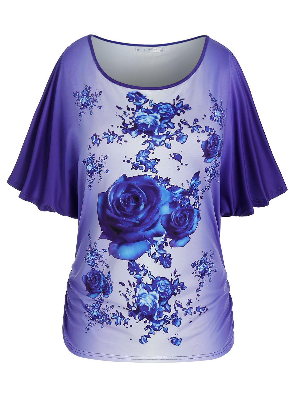 Shop Plus Size Floral Print Batwing Sleeve Ombre Tee