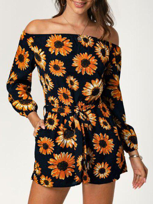 Affordable Off The Shoulder Sunflower Print Long Sleeve Romper