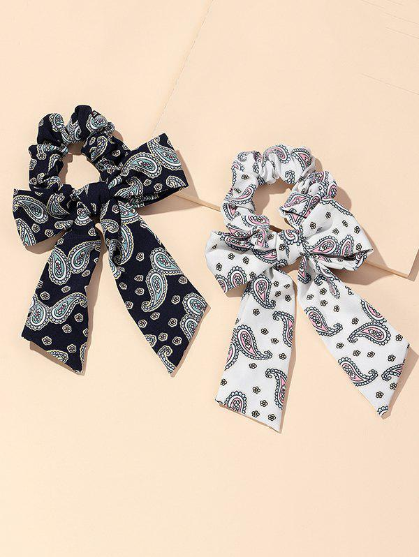 Shops 2Pcs Paisley Print Bowknot Ribbon Scrunchies Set