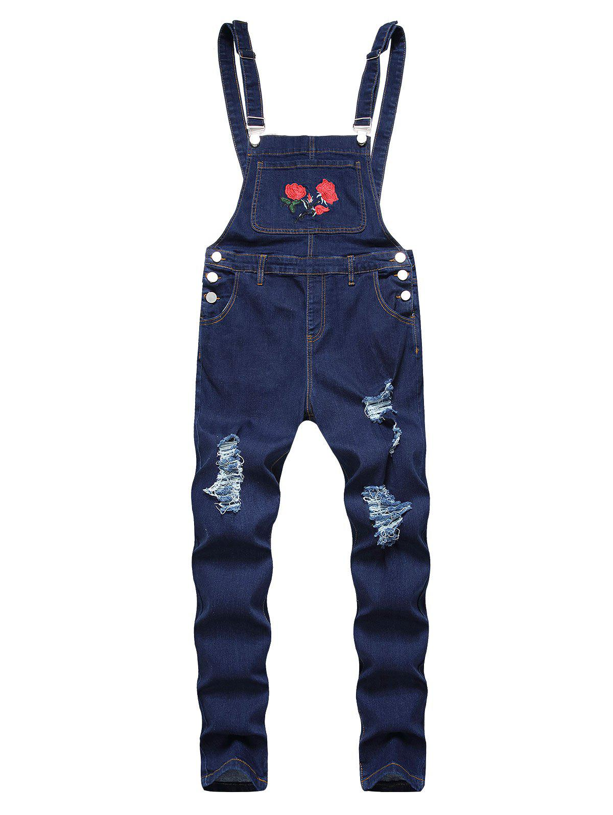 Fashion Ripped Flower Embroidered Tapered Overall Jeans
