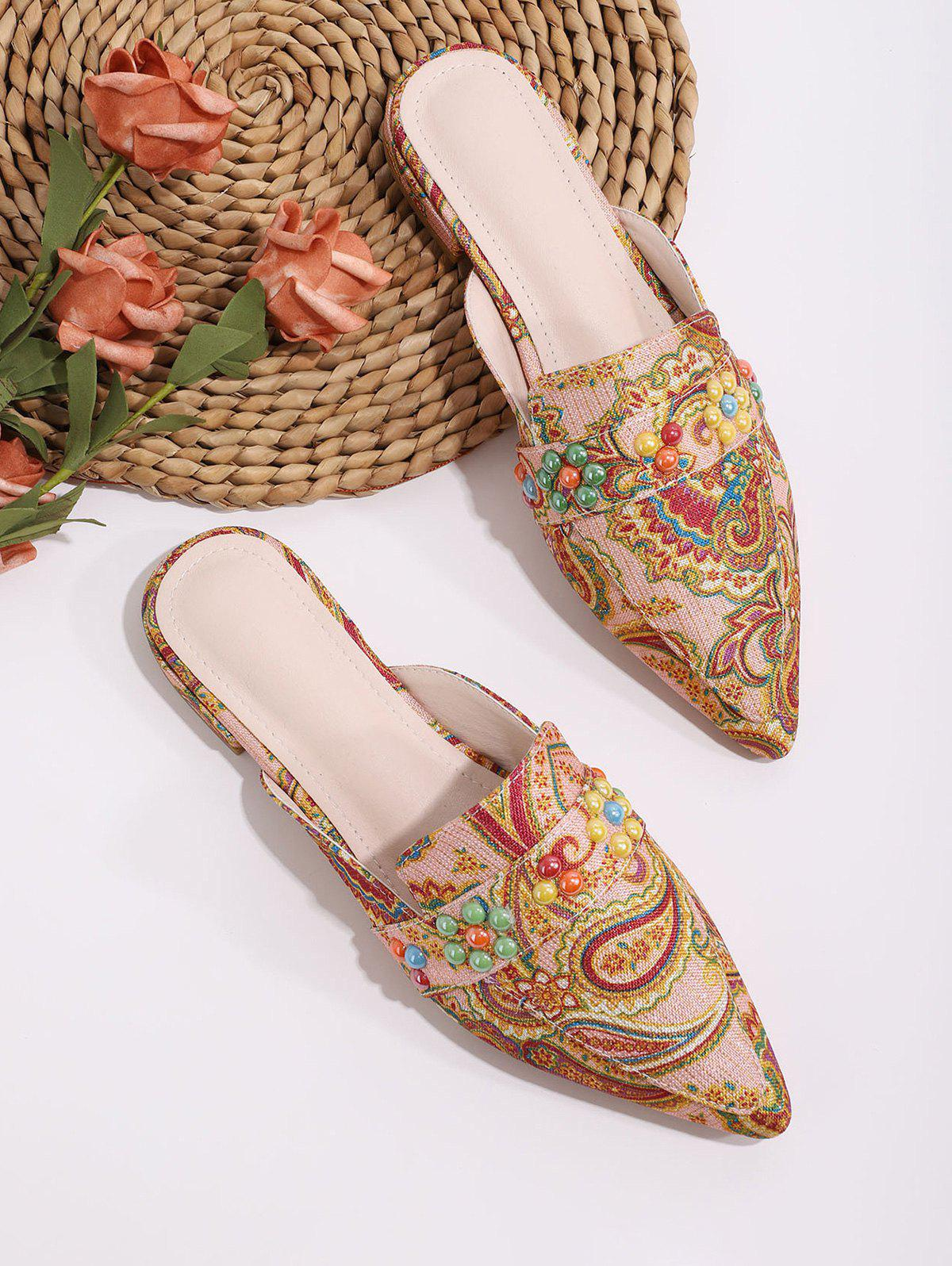 Cheap Beaded Paisley Print Pointed Toe Half Flat Shoes