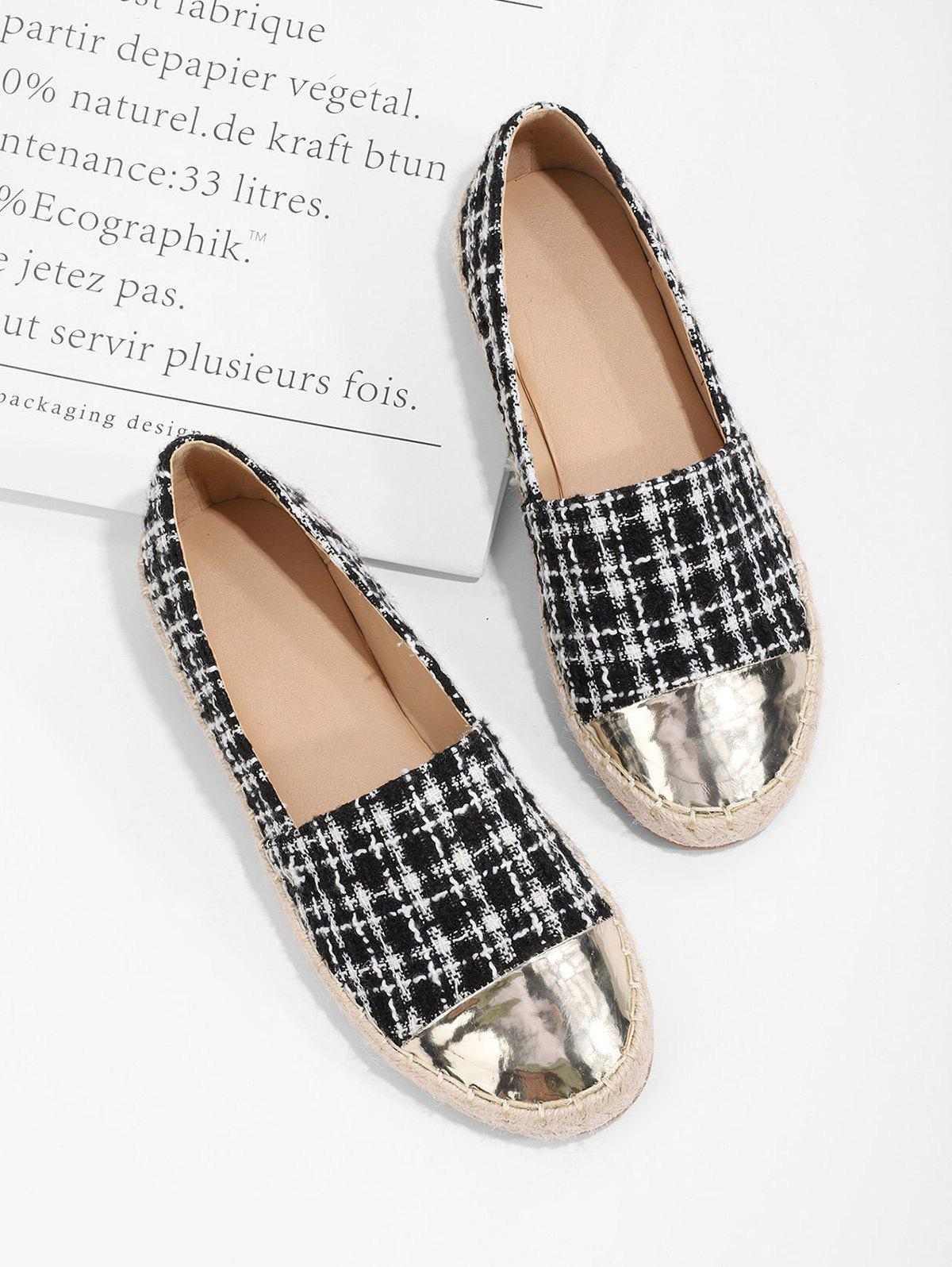 Latest Metallic Toe Tweed Espadrilles Loafer Flat Shoes