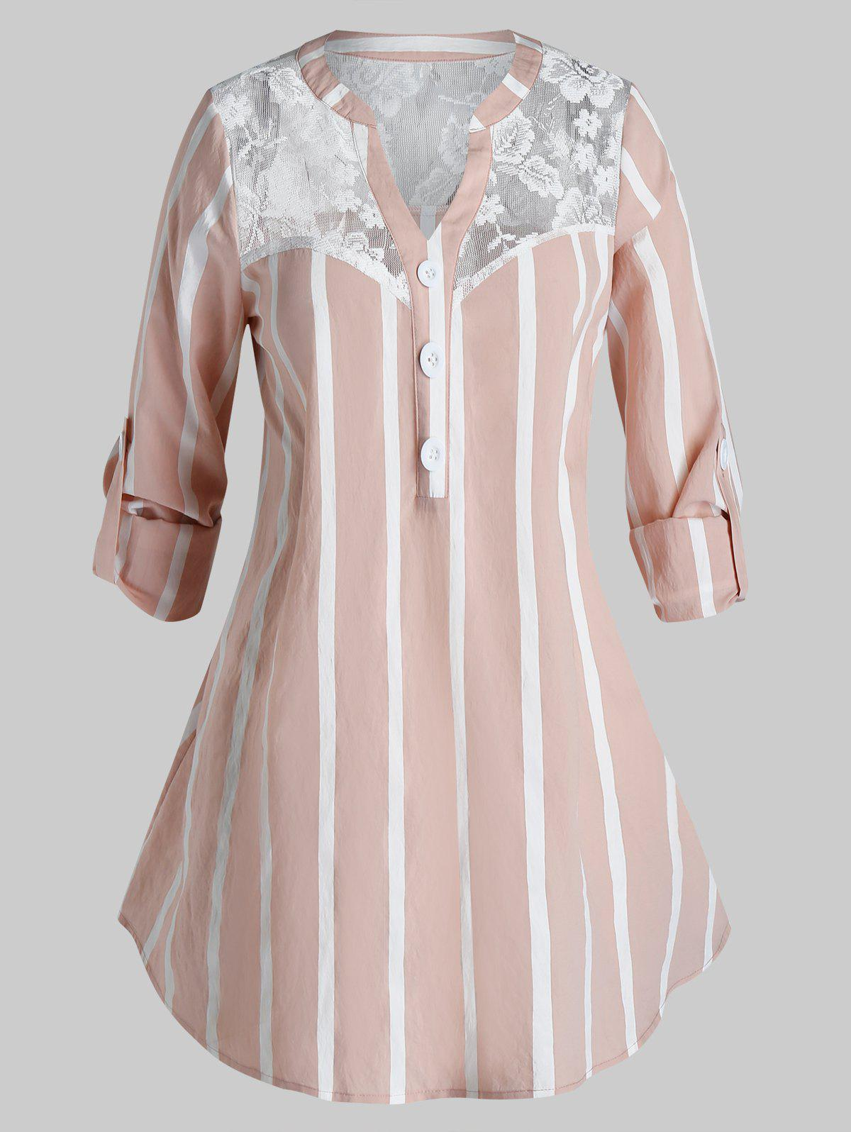 Cheap Plus Size Striped Lace Panel Button Casual Blouse
