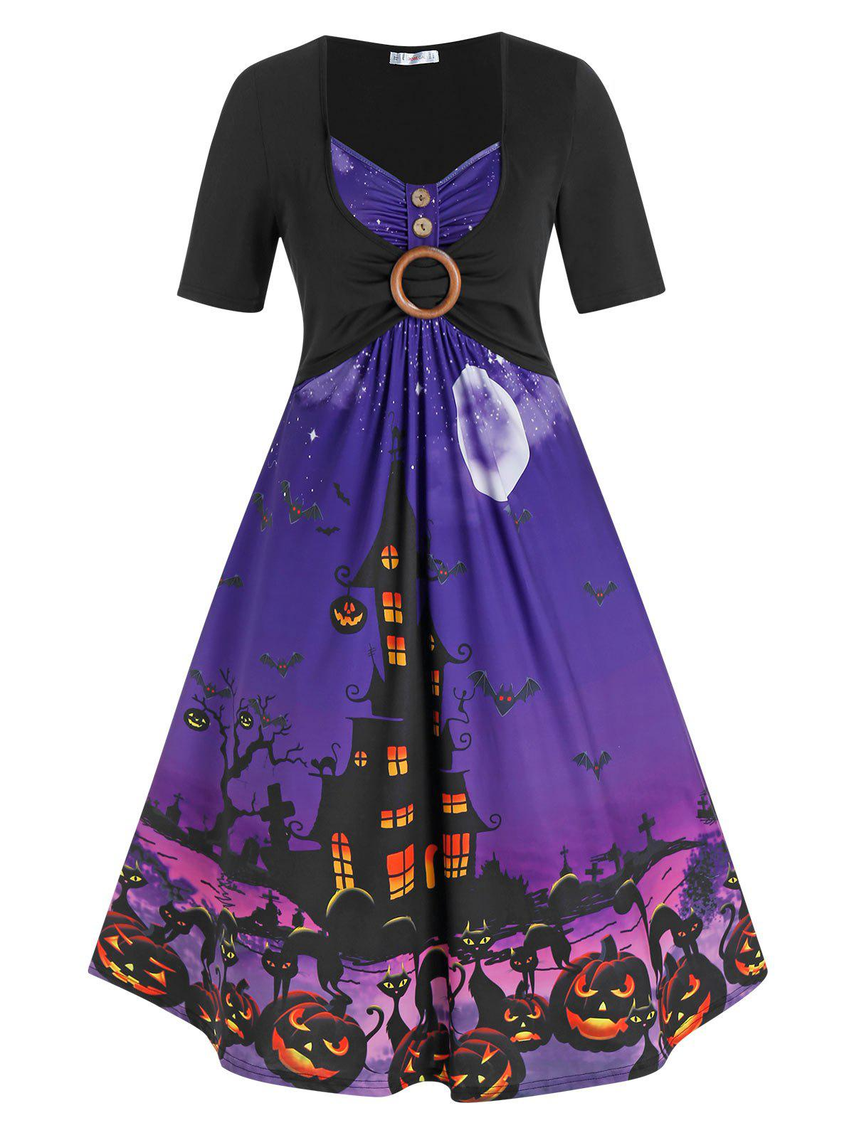 Plus Size Halloween O Ring Pumpkin Castle Print Dress фото