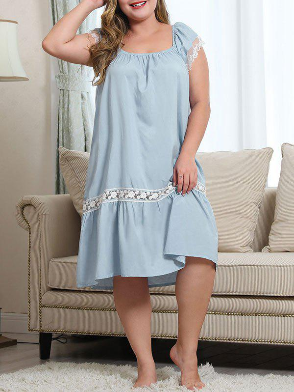 Hot Plus Size Lace Panel Nightgown