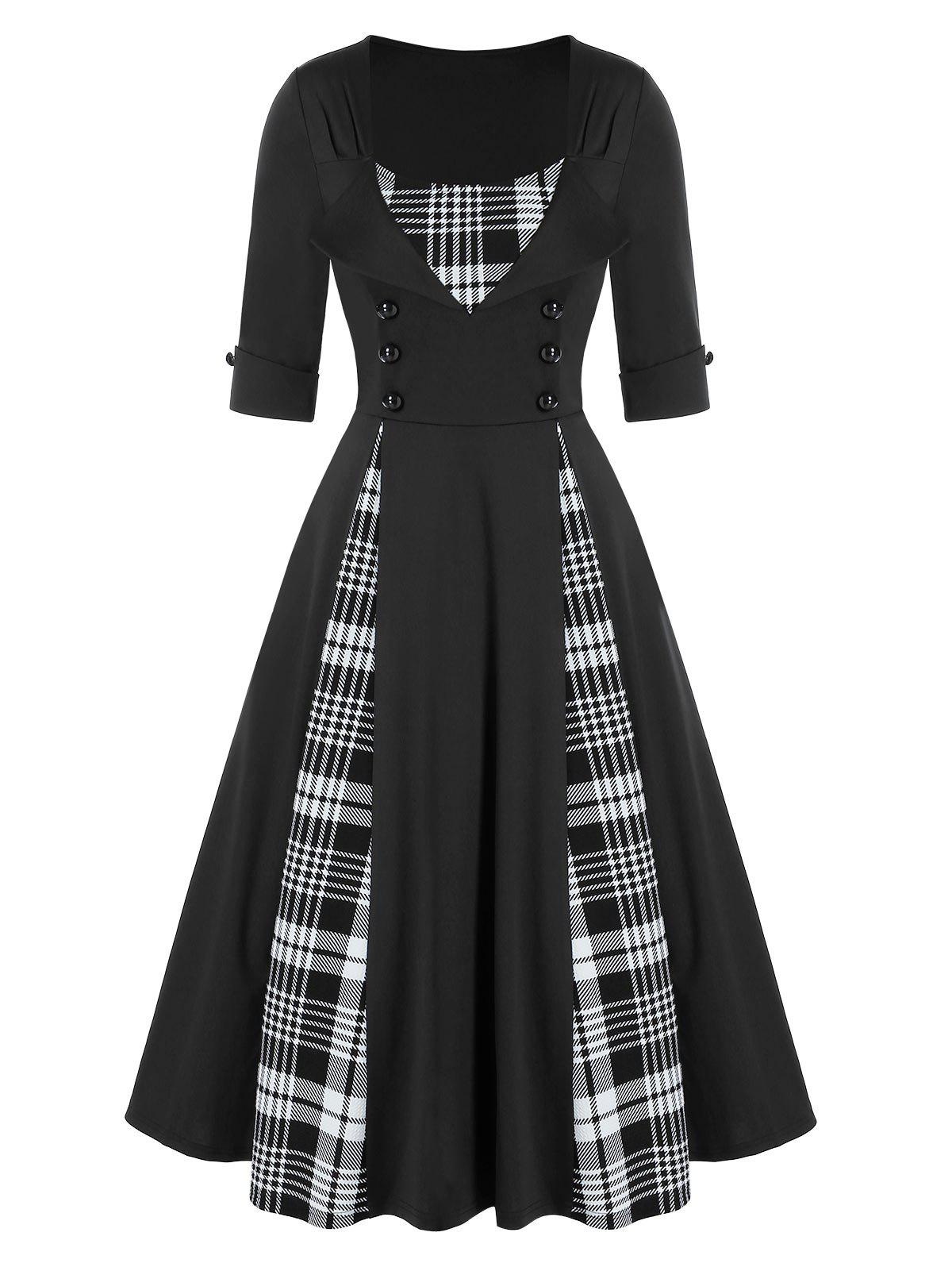 Chic Mock Button Plaid Print Vintage Twofer Dress