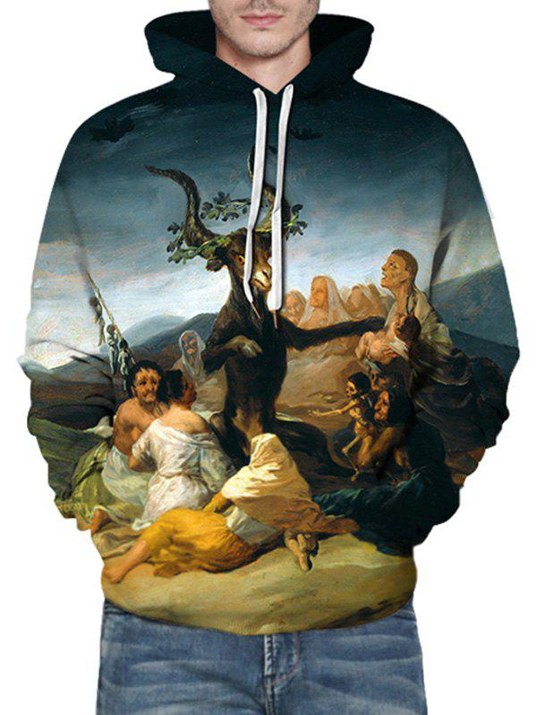 Hot Sheep Oil Paint Pattern Front Pocket Casual Hoodie