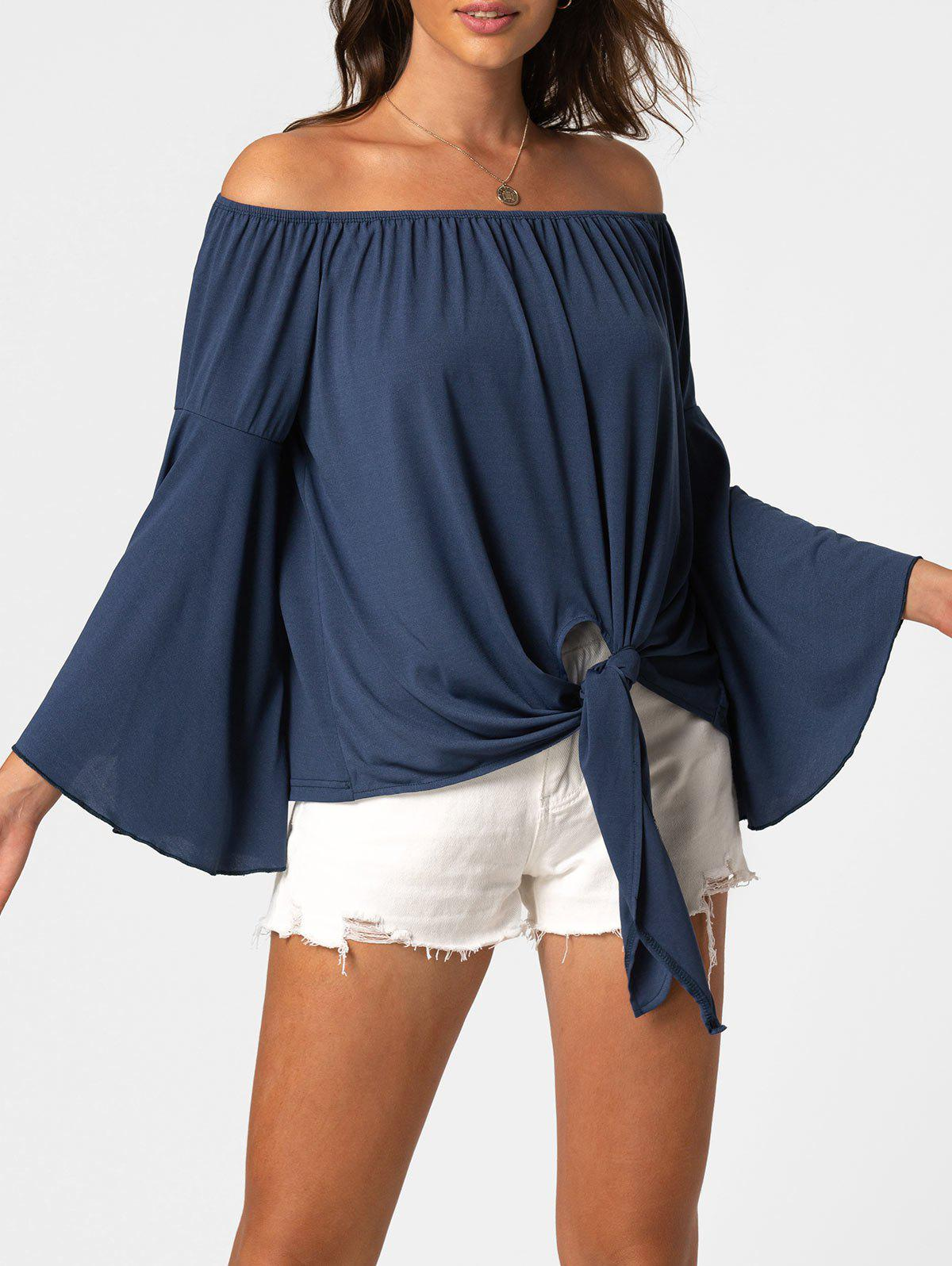 Best Off The Shoulder Knot Flare Sleeve Top