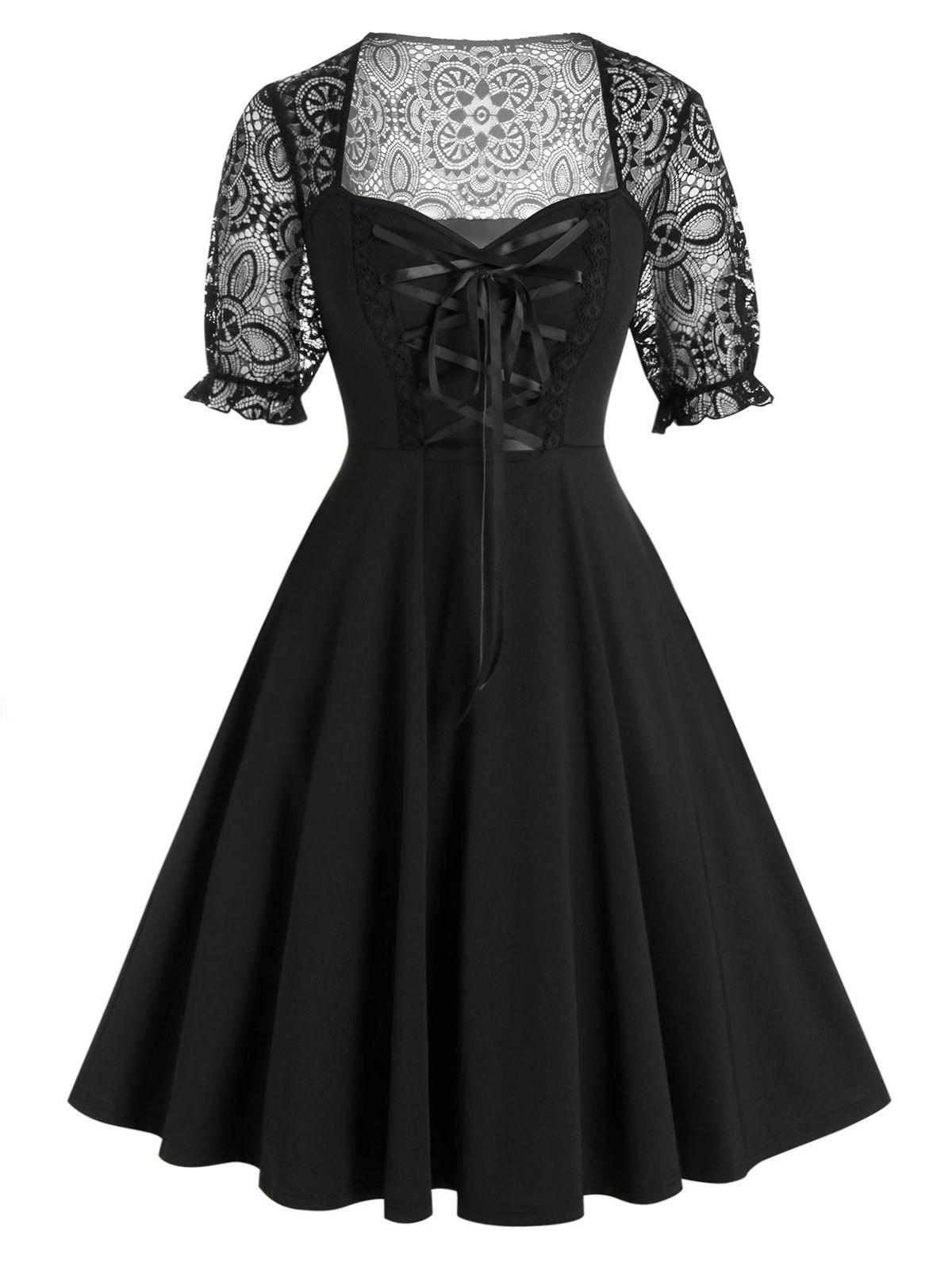 Fancy Plus Size Lace Panel Lacing Fit and Flare Dress