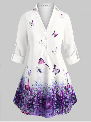 Plus Size Long Sleeves Butterfly Popover Blouse - PURPLE - 3X