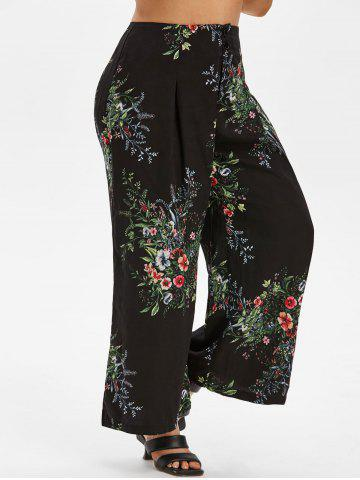 Plus Size Floral Print Wide Leg Pants