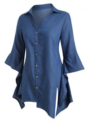 Plus Size Chambray Asymmetric Bell Sleeve Top - BLUE - L