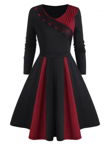 Ruched Lace Applique Godet Long Sleeve Dress