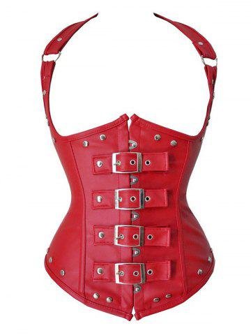 Plus Size Buckle Faux Leather Steel Boned Rivet Corset Set - RED - M