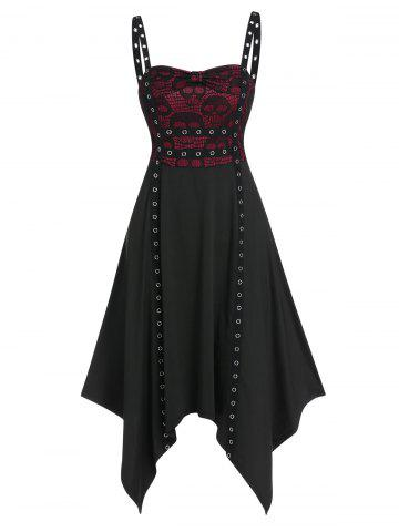 Bowknot Lace Insert Grommet Trim Asymmetrical Cami Dress