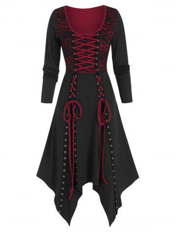 Lace Panel Lace Up Asymmetrical Long Sleeve Dress