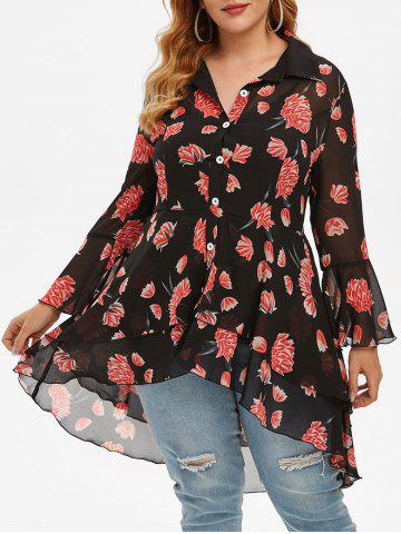 Plus Size High Low Flounce Floral Blouse and Tank Top Set - BLACK - 3X