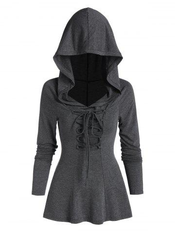 Back Slit Lace-up Heathered Hoodie - ASH GRAY - M