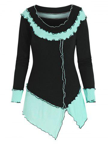 Two Tone Front Slit Long Sleeve T Shirt - MULTI-A - M