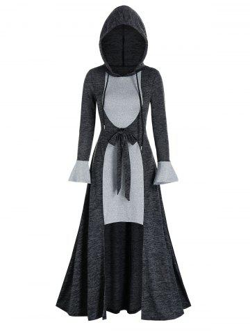 Contrast Color Bowknot Hooded Drawstring High Low Dress