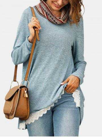 Ethnic Cowl Neck Lace Hem Knitwear