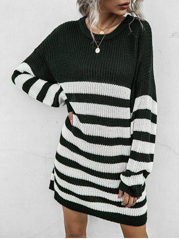 Two Tone Striped Shift Sweater Dress