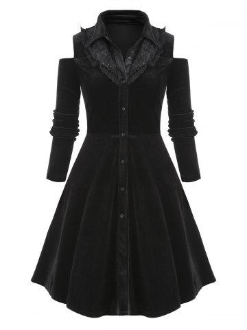 Plus Size Button Up Lace Panel Velvet Dress