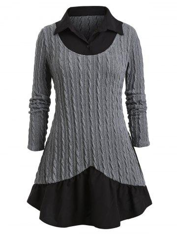 Plus Size Mixed Media Cable Knit Sweater - GRAY - L